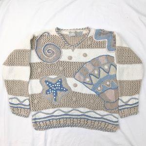VINTAGE 90s Handknit Beach Sweater Sz L